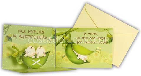 Tarjeta para felicitaciones de nacimiento Hallmark especial para gemelos