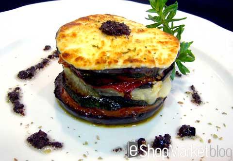 Menú de recetas: timbal de verduras con queso de cabra y olivada