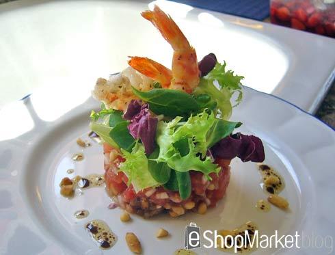 Menú de recetas: Tartar de tomate con micro ensalada y langostinos