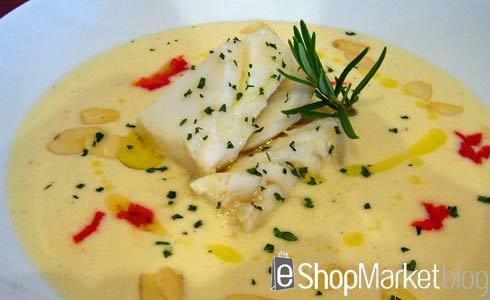 Bacalao con crema fina de Vichysoisse, menú de recetas