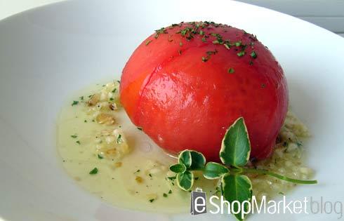 Tomates rellenos de jamón y verduritas, menú de recetas