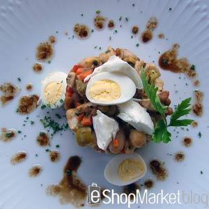 Ensalada de legumbres con mozzarella, menú de recetas