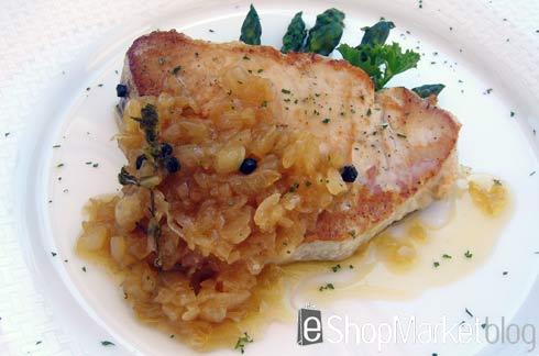 Lomo de atún con mermelada de cebolla, menú de recetas