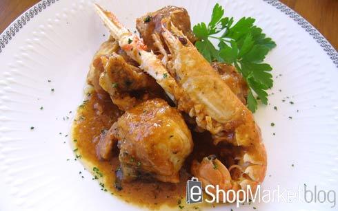 Pollo con cigalas, menú de recetas