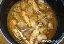 Menú de recetas: dejamos que cuezan el pollo, las cebollas y la salsa