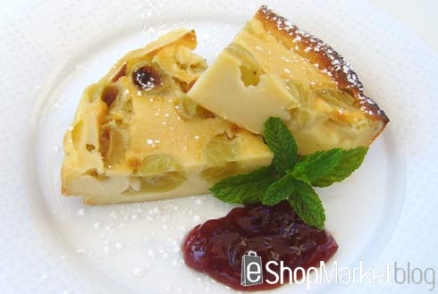 Tarta con uvas, menú de recetas