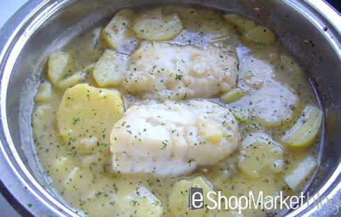 Lomo de bacalao con patatas, menú de recetas