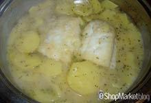 Menú de recetas: añadimos el bacalao y terminamos que la receta termine de cocer