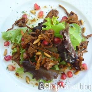 Menú de recetas: ensalada templada con cebolla confitada y setas