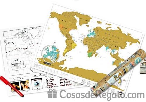 Mapa original para viajeros: rasca los países visitados