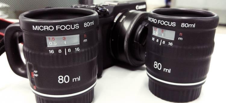 Tazas espresso con forma de objetivo: ¡el café de los fotógrafos!