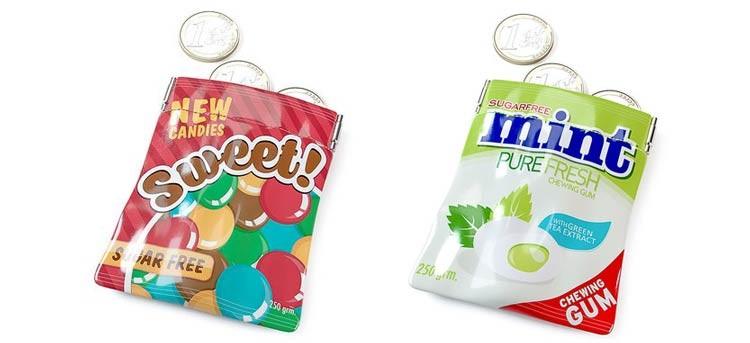 Monederos con aspecto de bolsa de caramelos: ¡dulces!